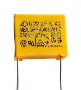 [2pcs] 0.22uF 275v, 220nF, AD X2 MEX Safety Capacitor, pitch 15mm –ref:677b