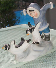 """Signed Penguin Watch Out Porcelain Whimsical Birds 9 3/4"""" X 6 3/4 Franklin Mint"""
