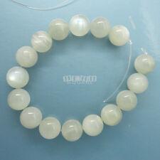 "16 Natural Greenish White Moonstone Round Beads 12mm 7.8"" w/Silver Flash #19307"