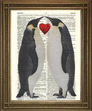 """VINTAGE DICTIONARY PAGE ART PRINT: Penguins in Love, Friends with Heart (10x8"""")"""