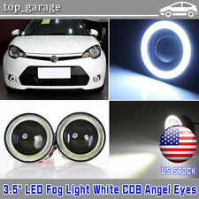 2pcs 3.5inch COB LED Fog Light Projector Car White Angel Eyes Halo Ring DRL Lamp