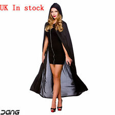 "Halloween Adult 52"" Hooded Long Cloak Pagan Horror Fancy Dress Costume UK"