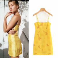 Womens Runway Summer Sun Flower Yellow Sleeveless Hight Waisted Sling Mini-Dress