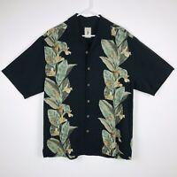 Jamaica Jaxx Men's Button Shirt Size M 100% Silk Floral Hawaiian Black Green