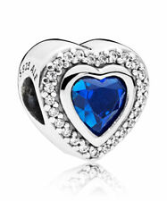 Genuine Pandora Sparkling Love Clear CZ & Blue Crystal Charm # 797608NANB