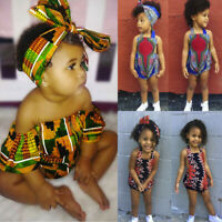 Toddler Kids Baby Girl African Print Sleeveless Romper Headband Bodysuit Outfits