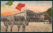 Trieste Città Stazione Militari PIEGHINA cartolina QT3024