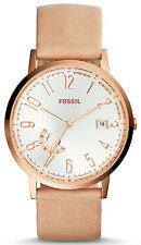 Fossil ES3751 Vintage Muse Silver Dial Sand Leather Strap Women's Watch