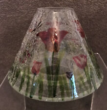 Yankee Candle Clear Crackle Tulips And Butterflies Glass Large Jar Topper