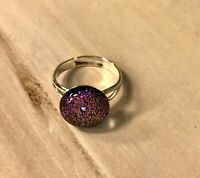 Handcrafted Fused Dichroic Glass COLORFUL Ring FREE SHIPPING