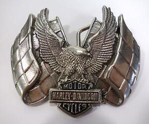 VINTAGE RETRO CHROME HARLEY DAVIDSON MOTORCYCLES AMERICAN BELT BUCKLE H-508