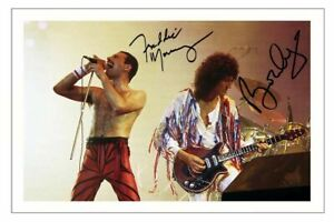 FREDDIE MERCURY & BRIAN MAY Signed Autograph 6x4 PHOTO Gift Print Music QUEEN
