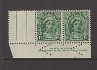 Australia Victoria VG perfin on 1½d BY AUTHORITY imprint pair MNH with selvedge