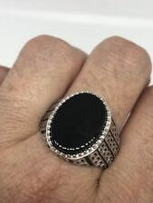 Vintage 925 Sterling Silver Black Onyx Egyptian Size 9 Ring
