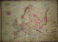Vintage 1863 EUROPE MAP Old Antique Original & Authentic Atlas Map ~Quick N Free