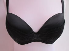 Cotton Club Black Satin and Lace Padded Underwired Bra - UK Size 38C #41B357