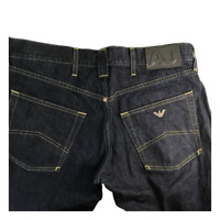ARMANI Jeans Dark Blue Regular Fit Straight Leg Low Waist Button Fly Size 34