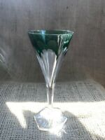 Vintage Val St Lambert Green Color Block Crystal Champagne Glass - Mid Mod
