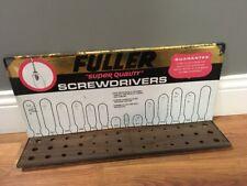 FULLER SUPER QUALITY SCREWDRIVERS VTG WALL HANG ADVERTISING SIGN RACK DISPLAY