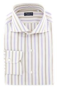 New $425 Finamore Napoli Off White Striped Shirt - Slim - 15.5/39 - (FN18109)