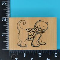 Cat with Fish Wood Mounted Rubber Stamp Unbranded