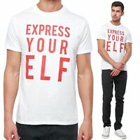 Mens Threadbare Novelty Christmas Express Your Elf Xmas Festive T-Shirt Top