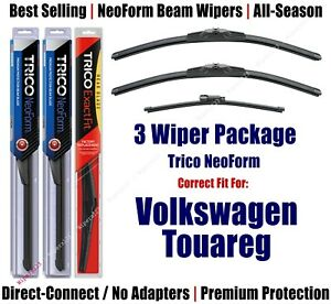 3-Pk Wipers Front Rear NeoForm - fit 2011-17 Volkswagen Touareg - 162412x2/15i
