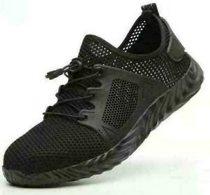 UK Mens Safty Sneakers Trainers Lace Up  Mesh Casual Sports Shoes Breathable FV