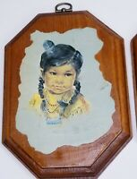 Vintage 3 Decoupaged Wood Art Native American Plaque Indian Children Oxborouch