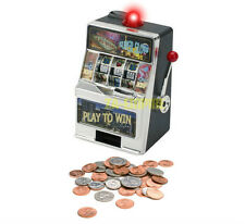 "7.5"" Mini Slot Machine Las Vegas Style Casino Coin Bank With Winning Light New"