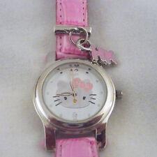 Sanrio Hello Kitty Watch HK charm pink alligator look leather strap silver