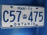 ONTARIO LICENSE PLATE 1973 C 57 475 VINTAGE CANADA CROWN SHOP MAN CAVE SHOP SIGN