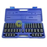 "38pc Impact Socket Set Metric AF Imperial Deep Shallow 1/2"" & 3/8"" Drives Cr-v"