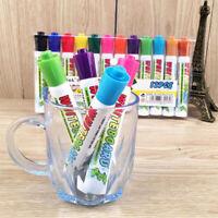 12 colour set white board marker pens, dry erase eraser, easy whiteboard New UK