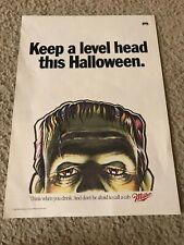 Vintage 1992 Miller Beer Poster Print Ad Frankenstein Halloween 1990s Rare