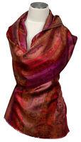 Schal 100% Seide silk stole scarf Foulard écharpe soie Pink Rot Red Orange