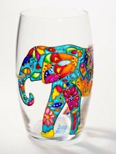Blue Elephant Wine Glass Stemless Hand Painted Drinking Glass Africa Gift Art