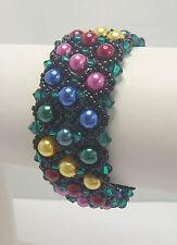 "Damen Armband ""Carolina"" Perlen (Imitat) multicolor rot pink, handmade"