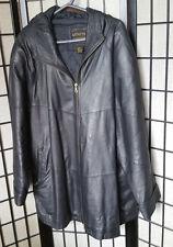 Venezia Leathers Zip-Up Vintage Hooded Leather Coat Blk 22/24