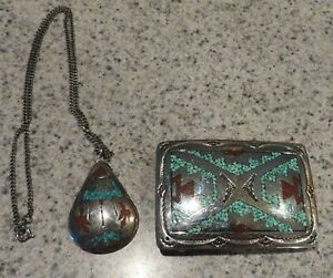Navajo Sterling Coral&Turquoise Chip Inlay Necklace/Pendant&Belt Buckle By J Fra
