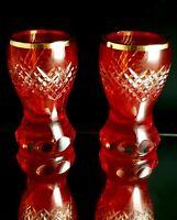 2 Becher Römer Glas  Pokal Kanone Antik Rot Überfang Schliff