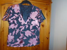 Gorgeous blue and pink floral silk blend v-neck top, JACQUES VERT, size 12