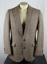 Harris Tweed Vintage 100% Wool 2 Button Sport Coat Blazer Brown Mens 42L