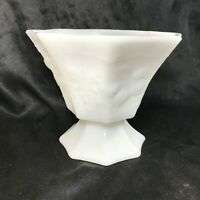 "Vintage Milk Glass Pedestal Grape Vine Embossed Octagon 6"" Compote Bowl"