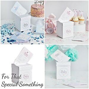 Baby prediction box & cards for Baby Shower. Choose colour. Cards for guests