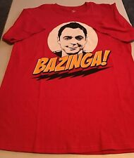 The Big Bang Theory Sheldon Bazinga Graphic T-Shirt Adult Size M EUC Red