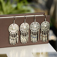 Fashion Round Bohemian Alloy Long Leaf Dangle Drop Hook Women Earrings Jewelry