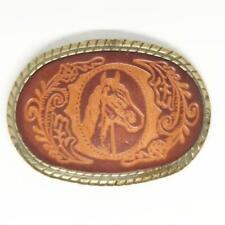 Belt Buckle Leather Horse Vintage