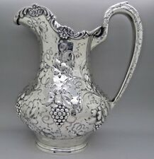 AG Schultz Baltimore MD Sterling Silver Repousse Grapes Pitcher HUGE AUCTION NR