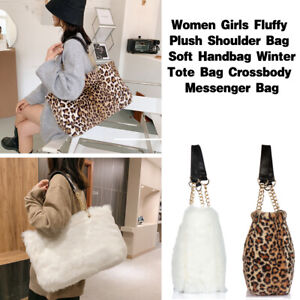 Large Capacity Satchel Handbag Tote Purse Shoulder Bag Furry Leopard Faux Fur